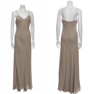 Ralph Lauren Purple Label Silk Slip Dress Maxi length beige tan gown v neck